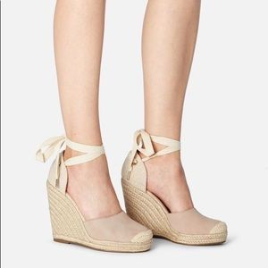 JustFab Lauren Ankle Tie Wedge blush